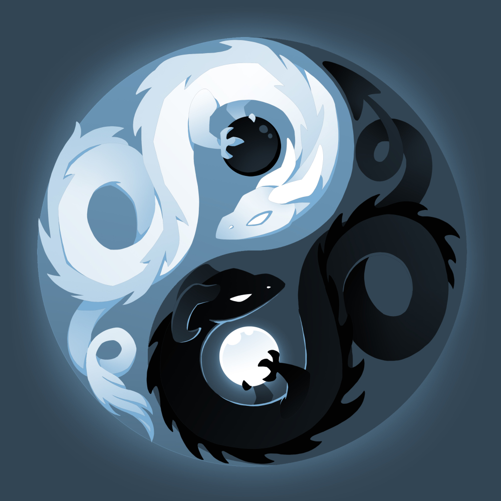 Yin and Yang Dragons t-shirt TeeTurtle denim blue t-shirt featuring a yin and yang with a white dragon holding a black moon and. a black dragon holding a white moon