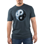 Yin and Yang Dragons Men's t-shirt model TeeTurtle denim blue t-shirt featuring a yin and yang with a white dragon holding a black moon and. a black dragon holding a white moon