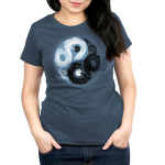 Yin and Yang Dragons Women's t-shirt model TeeTurtle denim blue t-shirt featuring a yin and yang with a white dragon holding a black moon and. a black dragon holding a white moon