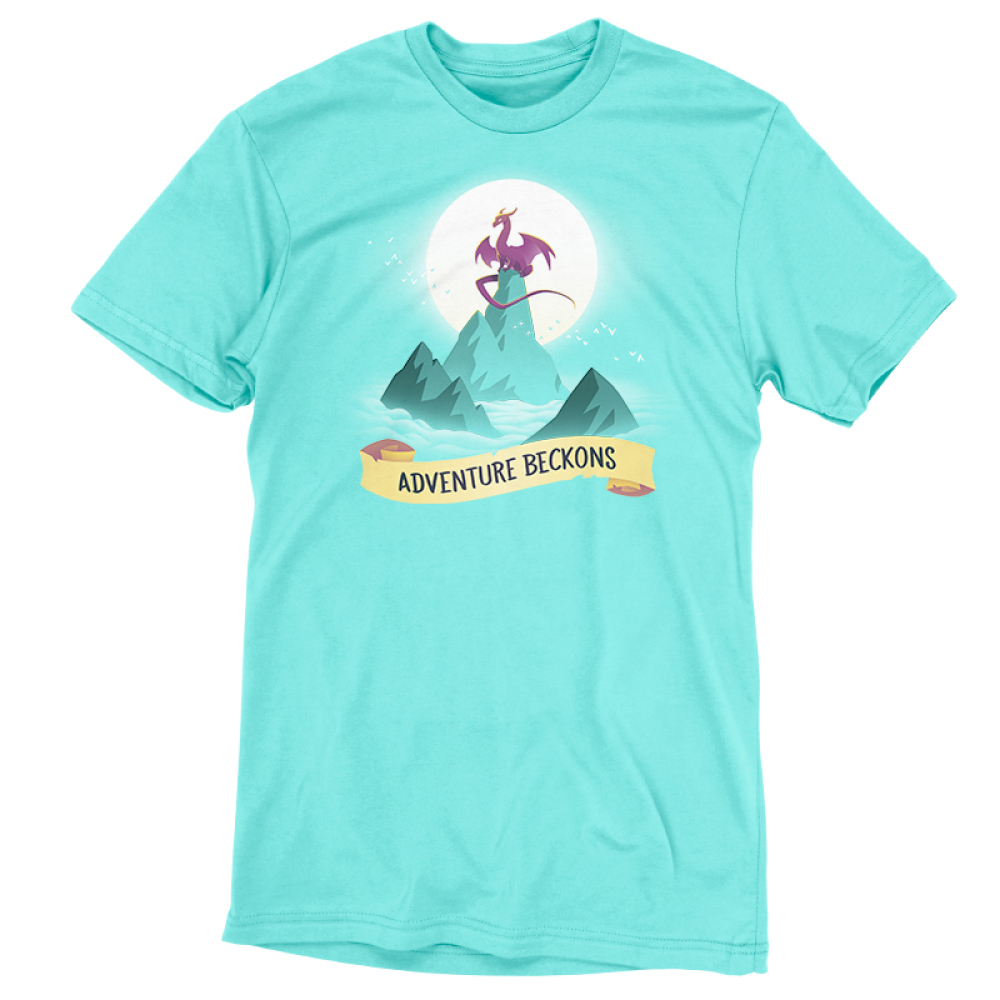 Adventure Beckons t-shirt TeeTurtle Caribbean blue t-shirt featuring blue mountains in the middle of wavy water with a big purple dragon sitting on the highest peak with a big sun behind him and birds flying