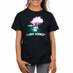 I Love Science Kid's t-shirt model TeeTurtle black t-shirt featuring a white bunny in a lab coat with big safety googles on holding a test tube in one hand with bubbles coming out of it and a flask in another with a big explosion coming out of the top