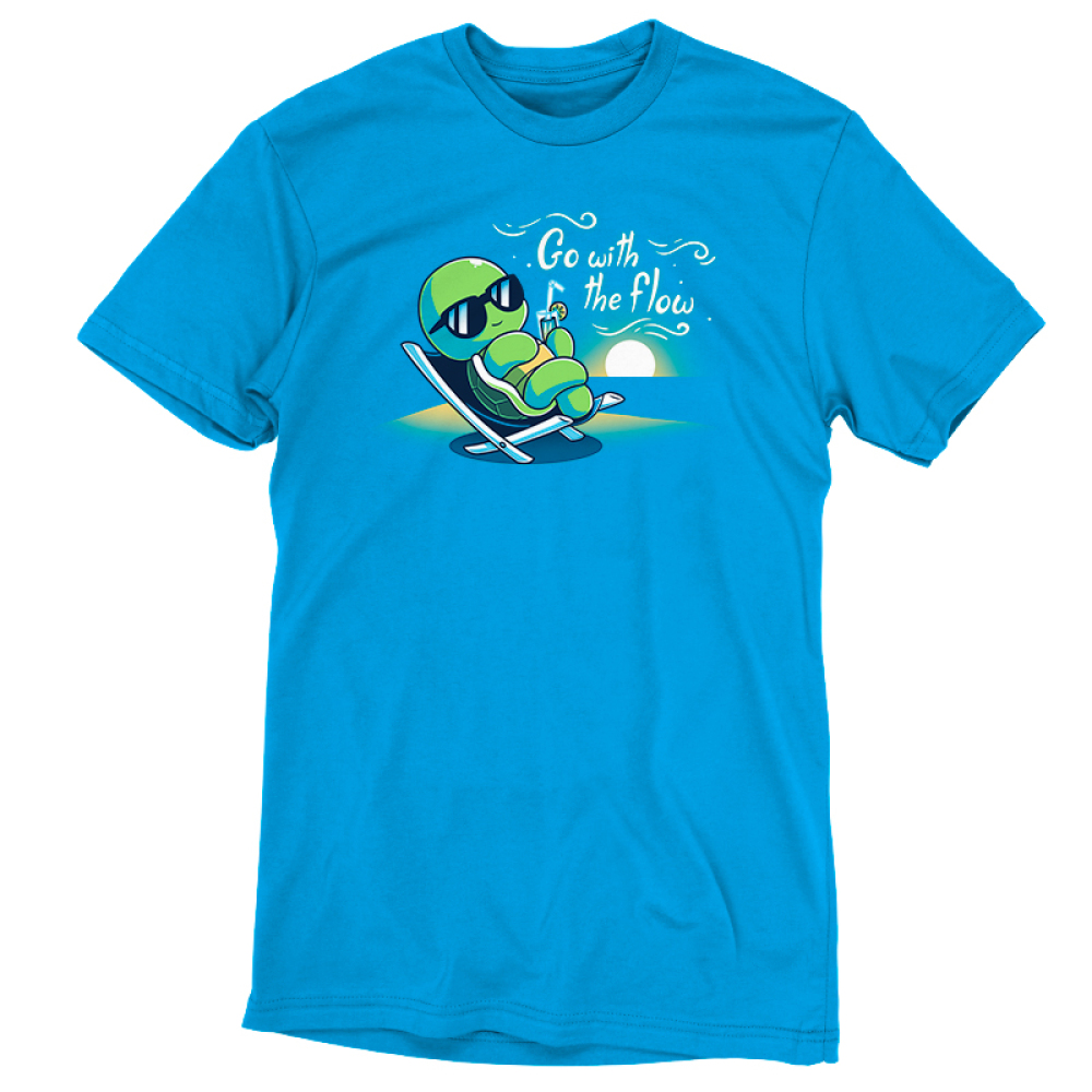 Go With the Flow t-shirt TeeTurtle cobalt blue t-shirt featuring a turtle in an outdoor lounge chair with sunglasses on sipping a lemonade with a sun setting behind him