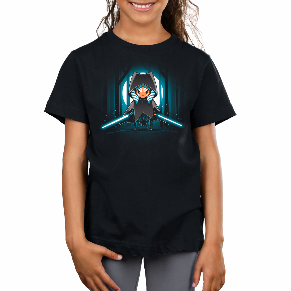 Cloaked Ahsoka Tano kids tshirt model officially licensed black tshirt featuring Ahsoka with two lightsabers