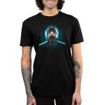 Cloaked Ahsoka Tano mens tshirt model officially licensed black tshirt featuring Ahsoka with two lightsabers