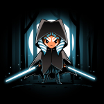 Cloaked Ahsoka Tano tshirt officially licensed black tshirt featuring Ahsoka with two lightsabers