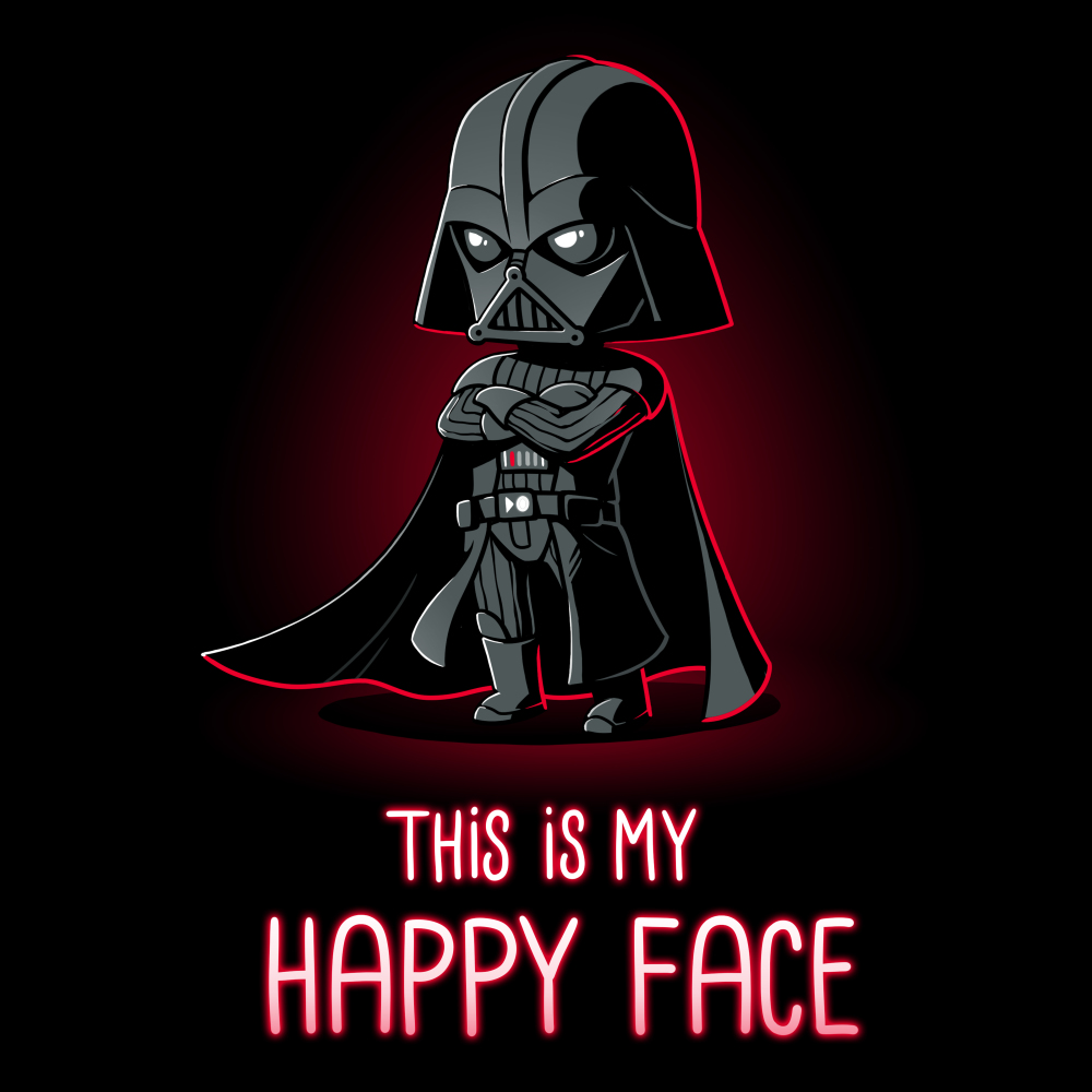 This is my happy face tshirt officially licensed black tshirt featuring darth vader with his arms crossed
