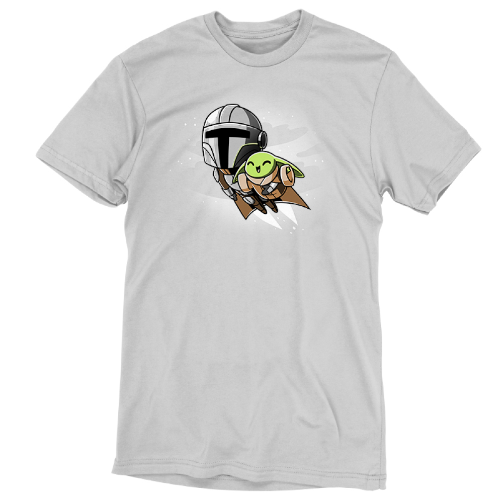Grogu's Joyride tshirt officially licensed silver tshirt featuring mando and grogu flying with the jetpack