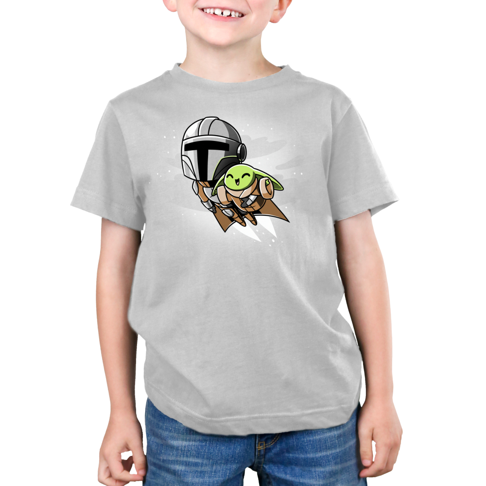 Grogu's Joyride kids tshirt model officially licensed silver tshirt featuring mando and grogu flying with the jetpack
