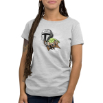Grogu's Joyride womens tshirt model officially licensed silver tshirt featuring mando and grogu flying with the jetpack