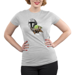 Grogu's Joyride Juniors tshirt model officially licensed silver tshirt featuring mando and grogu flying with the jetpack