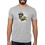 Grogu's Joyride mens tshirt model officially licensed silver tshirt featuring mando and grogu flying with the jetpack