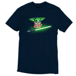 Shiny Lightsaber tshirt officially licensed black tshirt featuring grogu looking at a bright green lightsaber