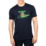 Shiny Lightsaber mens tshirt model officially licensed black tshirt featuring grogu looking at a bright green lightsaber