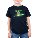Shiny Lightsaber kids tshirt model officially licensed black tshirt featuring grogu looking at a bright green lightsaber