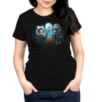 Grogu's family womens tshirt model officially licensed black tshirt featuring ahsoka grogu and mando all holding hands under the moon