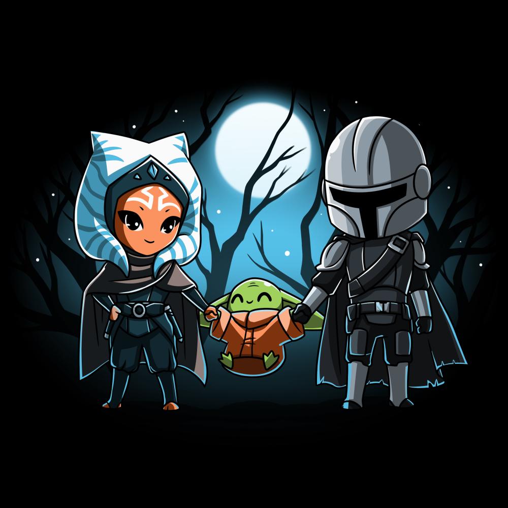 Grogu's family tshirt officially licensed black tshirt featuring ahsoka grogu and mando all holding hands under the moon