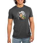 BFFs (Ahsoka and Grogu) mens tshirt model officially licensed silver tshirt featuring Ahsoka holding Grogu under the moonlight