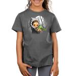 BFFs (Ahsoka and Grogu) kids tshirt model officially licensed silver tshirt featuring Ahsoka holding Grogu under the moonlight