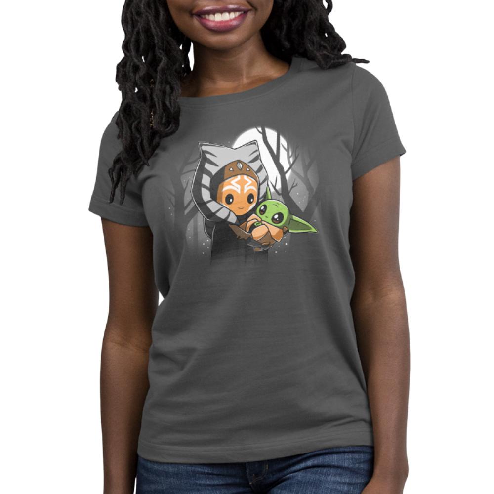 BFFs (Ahsoka and Grogu) womens tshirt model officially licensed silver tshirt featuring Ahsoka holding Grogu under the moonlight