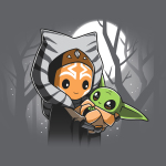 BFFs (Ahsoka and Grogu) tshirt officially licensed silver tshirt featuring Ahsoka holding Grogu under the moonlight