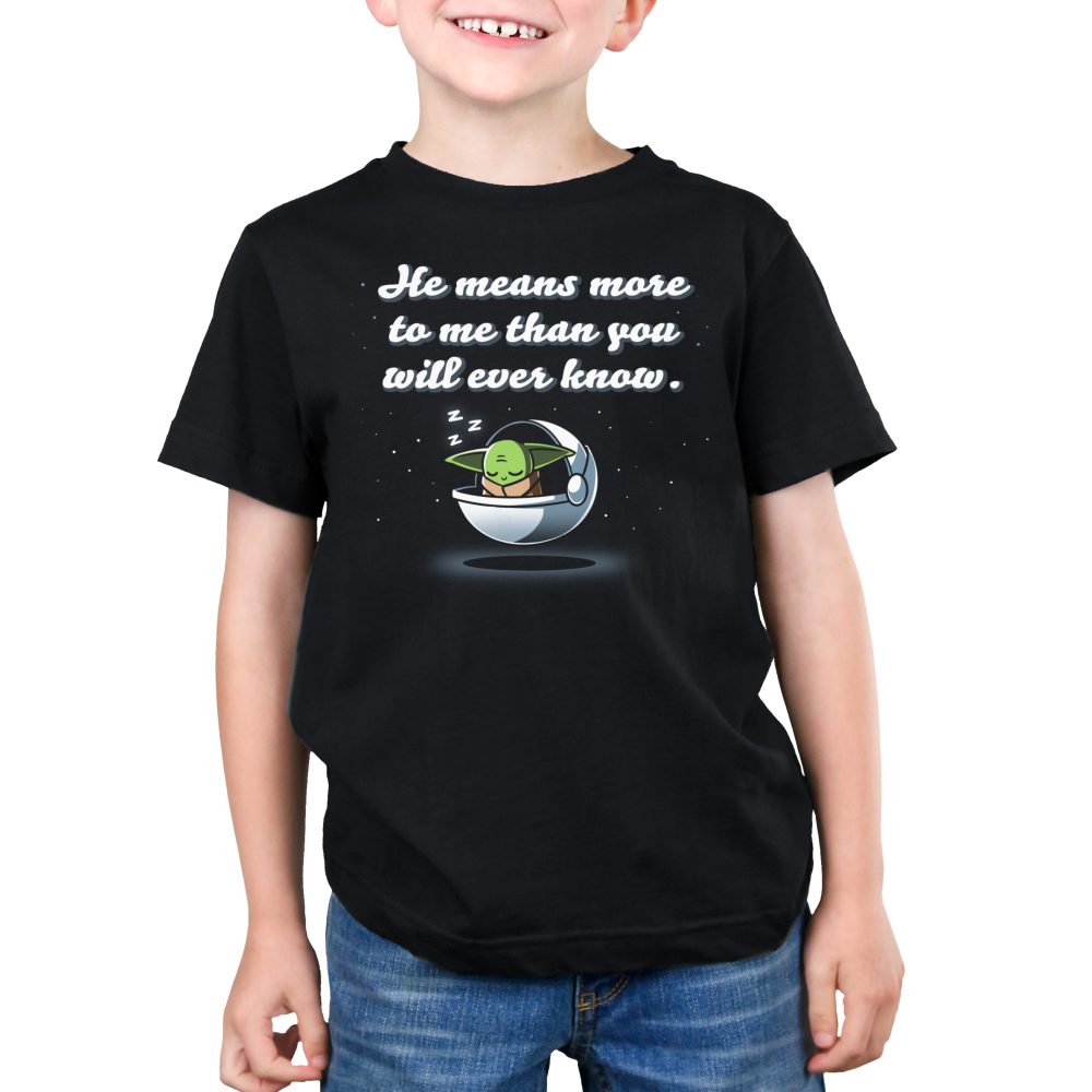 He Means More To Me Than You Will Ever Know kids tshirt model officially licensed black tshirt featuring grogu asleep in his pod