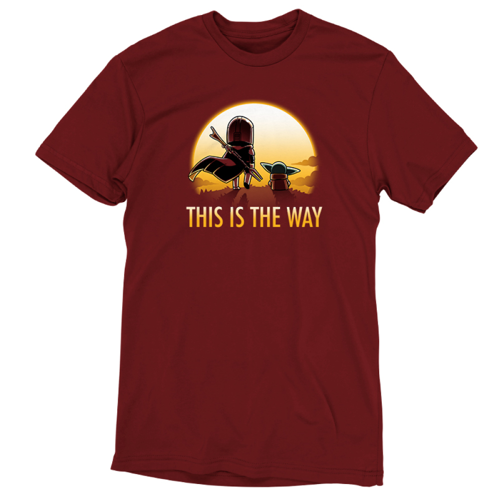 This is the way (sunset) tshirt officially licensed red tshirt featuring grogu and mando walking into the sunset