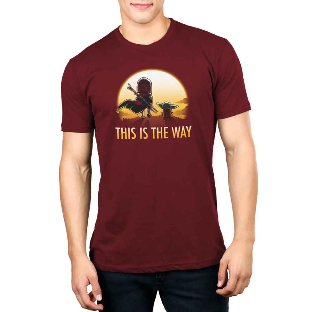 This is the way (sunset) mens tshirt model officially licensed red tshirt featuring grogu and mando walking into the sunset