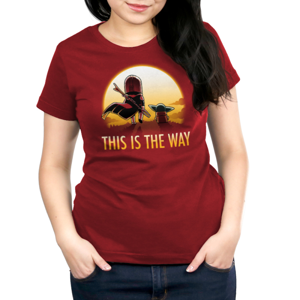 This is the way (sunset) womens tshirt model officially licensed red tshirt featuring grogu and mando walking into the sunset