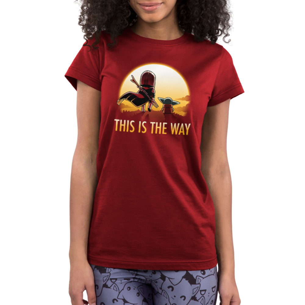 This is the way (sunset) juniorss tshirt model officially licensed red tshirt featuring grogu and mando walking into the sunset
