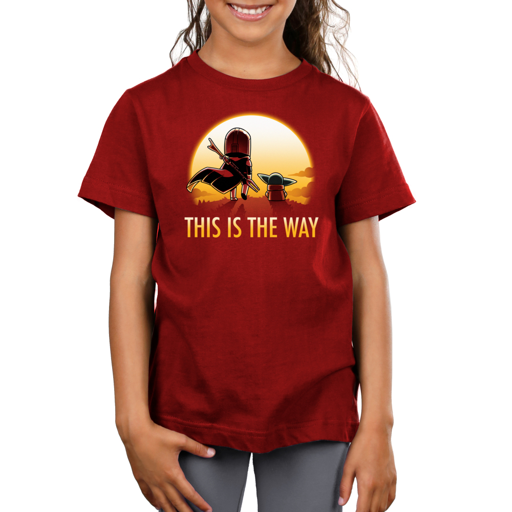 This is the way (sunset) kids tshirt model officially licensed red tshirt featuring grogu and mando walking into the sunset