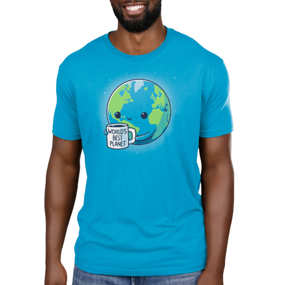 World's Best Planet Men's t-shirt model TeeTurtle cobalt blue t-shirt featuring Earth with a smiley face holding a mug saying World's Best Planet