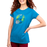 World's Best Planet Women's t-shirt model TeeTurtle cobalt blue t-shirt featuring Earth with a smiley face holding a mug saying World's Best Planet