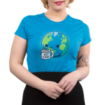 World's Best Planet Junior's t-shirt model TeeTurtle cobalt blue t-shirt featuring Earth with a smiley face holding a mug saying World's Best Planet