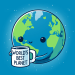 World's Best Planet t-shirt TeeTurtle cobalt blue t-shirt featuring Earth with a smiley face holding a mug saying World's Best Planet