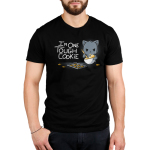 I'm One Tough Cookie Men's t-shirt model TeeTurtle black t-shirt featuring a gray cat mixing a whole of cookie dough looking tough with a baking sheet and cookies in front of him
