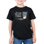 I'm One Tough Cookie Kid's t-shirt model TeeTurtle black t-shirt featuring a gray cat mixing a whole of cookie dough looking tough with a baking sheet and cookies in front of him
