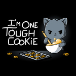 I'm One Tough Cookie t-shirt TeeTurtle black t-shirt featuring a gray cat mixing a whole of cookie dough looking tough with a baking sheet and cookies in front of him