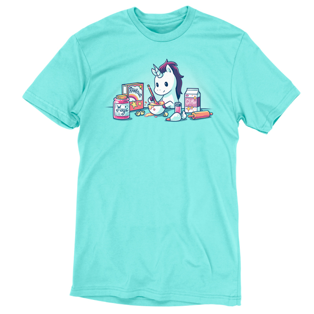 Baking Unicorn t-shirt TeeTurtle Caribbean blue t-shirt featuring a white unicorn with a purple mane mixing batter in a bowl with ingredients all around him including rainbows, magic, and glitter
