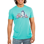 Baking Unicorn Men's t-shirt model TeeTurtle Caribbean blue t-shirt featuring a white unicorn with a purple mane mixing batter in a bowl with ingredients all around him including rainbows, magic, and glitter