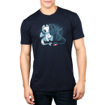 Toothless and Lightfury mens tshirt model officially licensed navy tshirt featuring Toothless and Lightfury from How To Train Your Dragon, cuddling