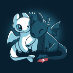 Toothless and Lightfury tshirt officially licensed navy tshirt featuring Toothless and Lightfury from How To Train Your Dragon, cuddling