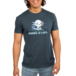 Games-o-lotl Men's t-shirt model TeeTurtle denim blue t-shirt featuring an axolotl sitting on the ground looking focused with a controller in its hand with another one on the ground and a Switch