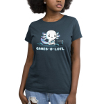 Games-o-lotl Women's t-shirt model TeeTurtle denim blue t-shirt featuring an axolotl sitting on the ground looking focused with a controller in its hand with another one on the ground and a Switch