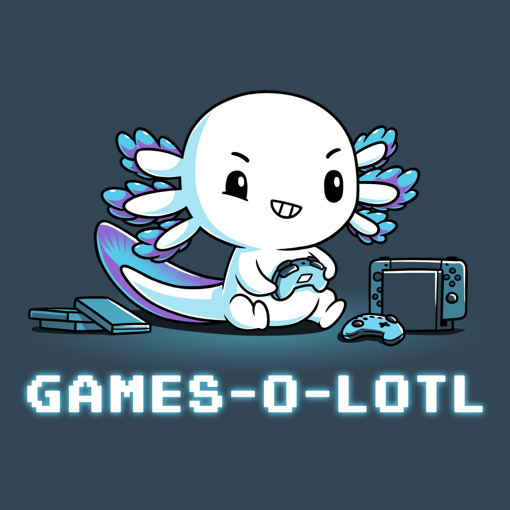 Games-o-lotl t-shirt TeeTurtle denim blue t-shirt featuring an axolotl sitting on the ground looking focused with a controller in its hand with another one on the ground and a Switch