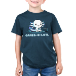 Games-o-lotl Kid's t-shirt model TeeTurtle denim blue t-shirt featuring an axolotl sitting on the ground looking focused with a controller in its hand with another one on the ground and a Switch