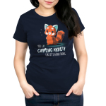 You Say Crippling Anxiety Like It's a Bad Thing Women's t-shirt model TeeTurtle navy t-shirt featuring a red panda looking sarcastic with its hands on its hips