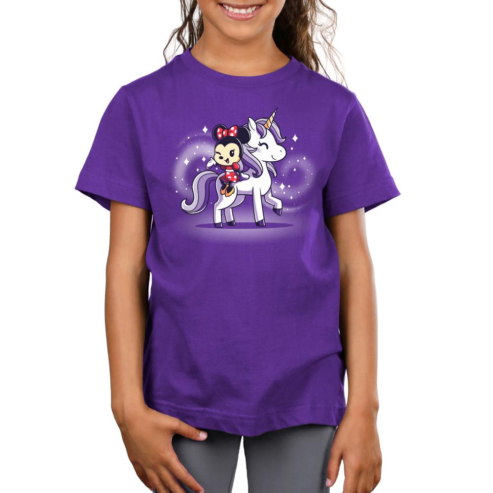 Minnie Loves Unicorns kids tshirt model officially licensed purple tshirt featuring Minnie riding a unicorn