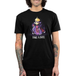 Take A Bite mens tshirt model officially licensed black tshirt featuring the evil queen from snow white holding an apple