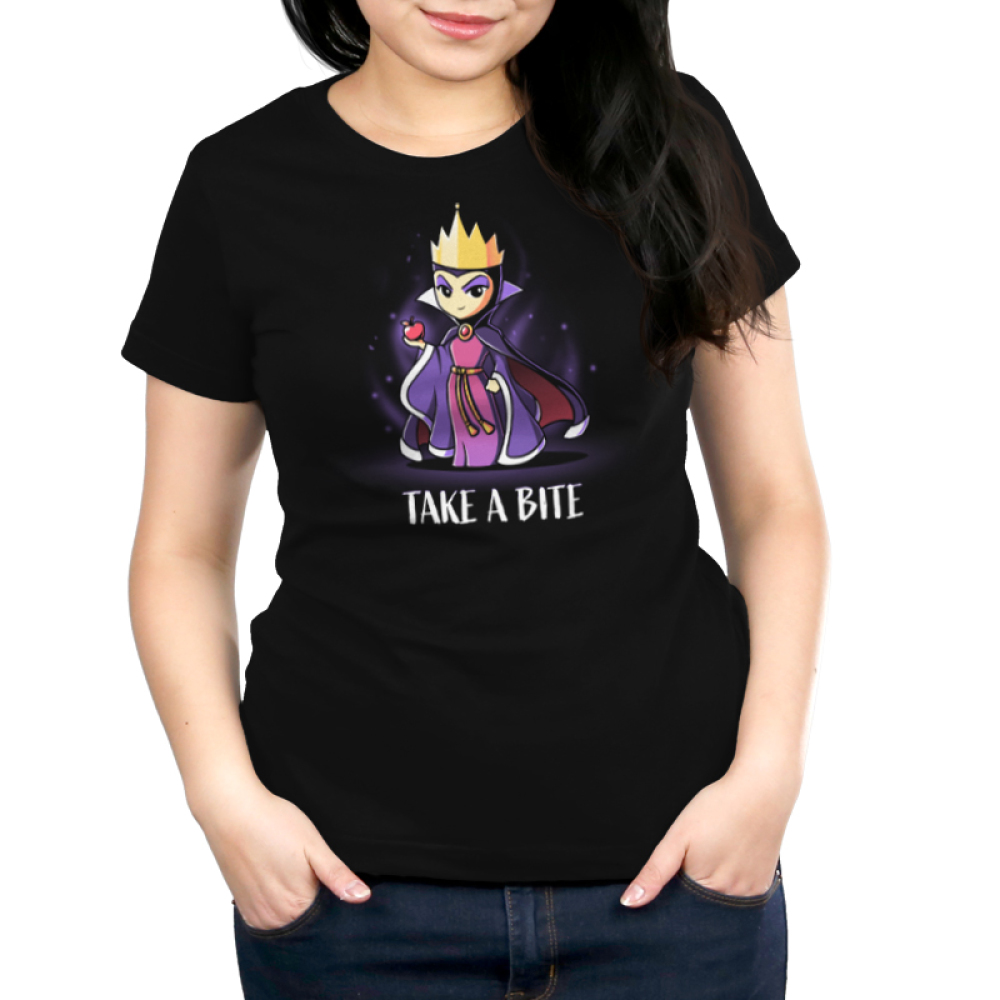 Take A Bite womens tshirt model officially licensed black tshirt featuring the evil queen from snow white holding an apple