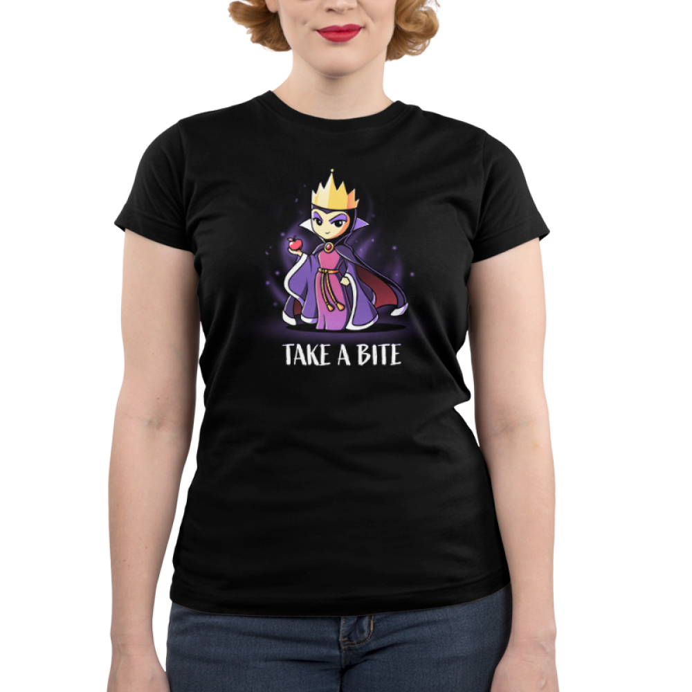 Take A Bite juniors tshirt model officially licensed black tshirt featuring the evil queen from snow white holding an apple